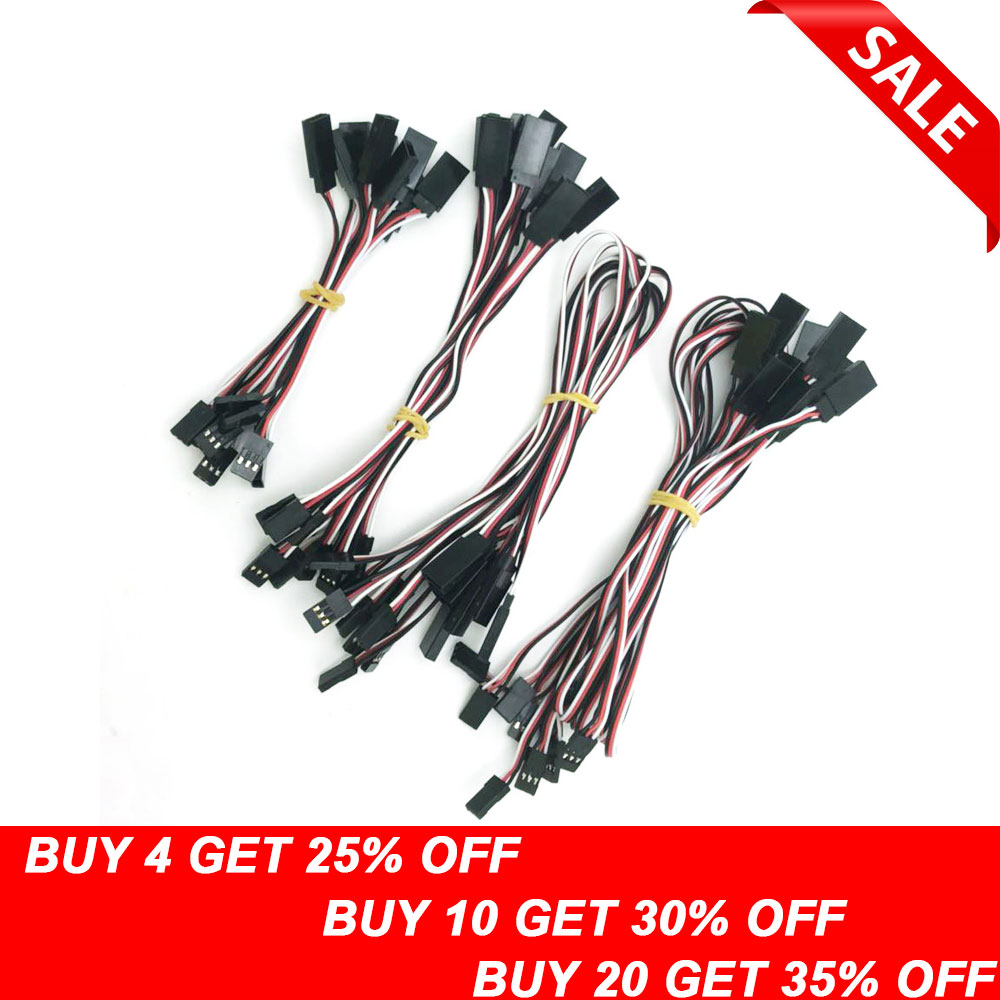 10pcs 100mm/150mm/300mm/500mm RC Servo Extension Cord Cable Wire Lead JR For Rc Helicopter Rc Drone