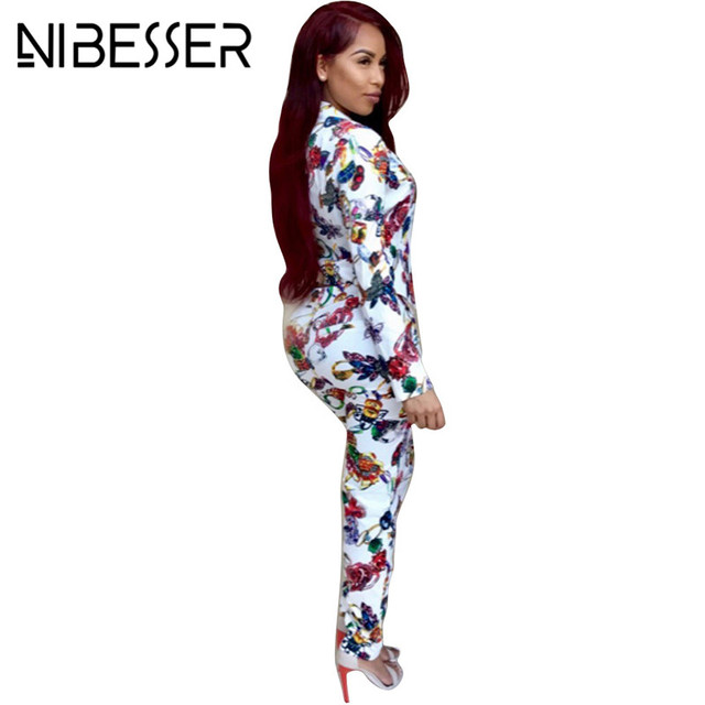 Lasperal Women Blaxzer Suit Fashion Flower Printed Long Sleeve Jacket Blazers Formal Pants Suits Autumn Office