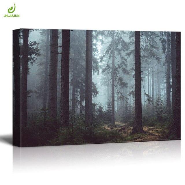 Jhljiajun Tranquil Forest Landscape Canvas Paintings Horizontal