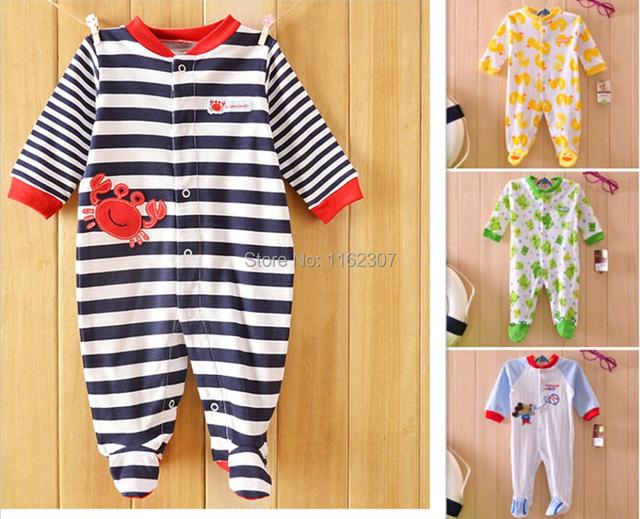 Alta calidad ropa de Bebé mamelucos de algodón de manga larga de otoño pijamas del bebé niños niñas ropa de bebé ropa interior