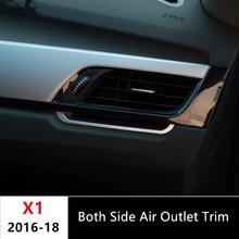 Sia Lato Aria Condizionata Presa Trim Strisce 2 pz per BMW X1 2016-18 lega di Alluminio Car styling Centro Console decorazione