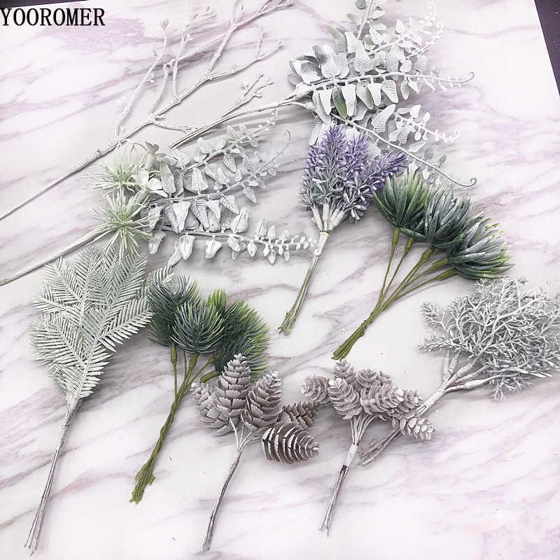 YOOROMER 1pcs צמחים מלאכותיים ענפי אורן חג המולד עץ חתונה קישוטי DIY Handcraft אביזרי ילדי מתנה זר