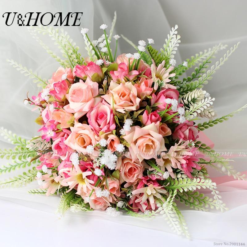 U&Home silk pink rose babysbreath white bracken artificial DIY flore bride bouquet for home wedding decoration bulk high quality