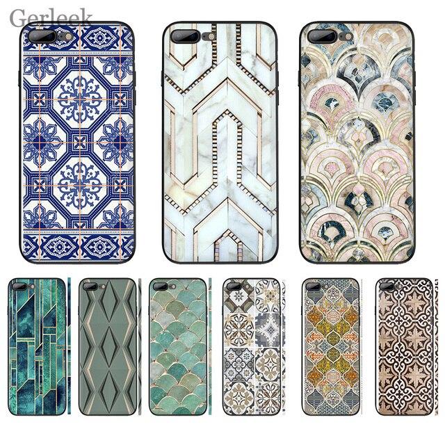 Trường Hợp điện thoại Morocco Nghệ Thuật Deco Gạch Bản Đồ Kim Cương Quy Mô Cho iPhone 6 6 S 5 5 S SE XR X XS MAX 8 7 6 Cộng Với Bìa