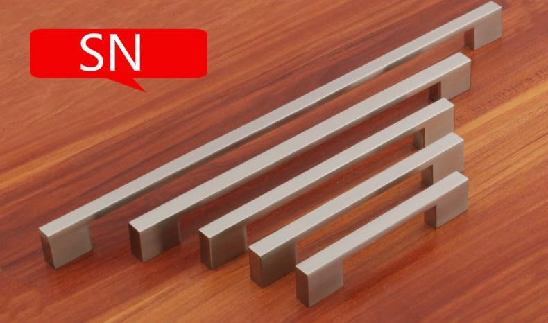 Satin Nickel Modern Handle (C.C.:96MM L:119MM H:23MM) Drawers Cabinets 10PCS chrome plated modern handle c c 160mm l 184mm h 23mm drawers cabinets