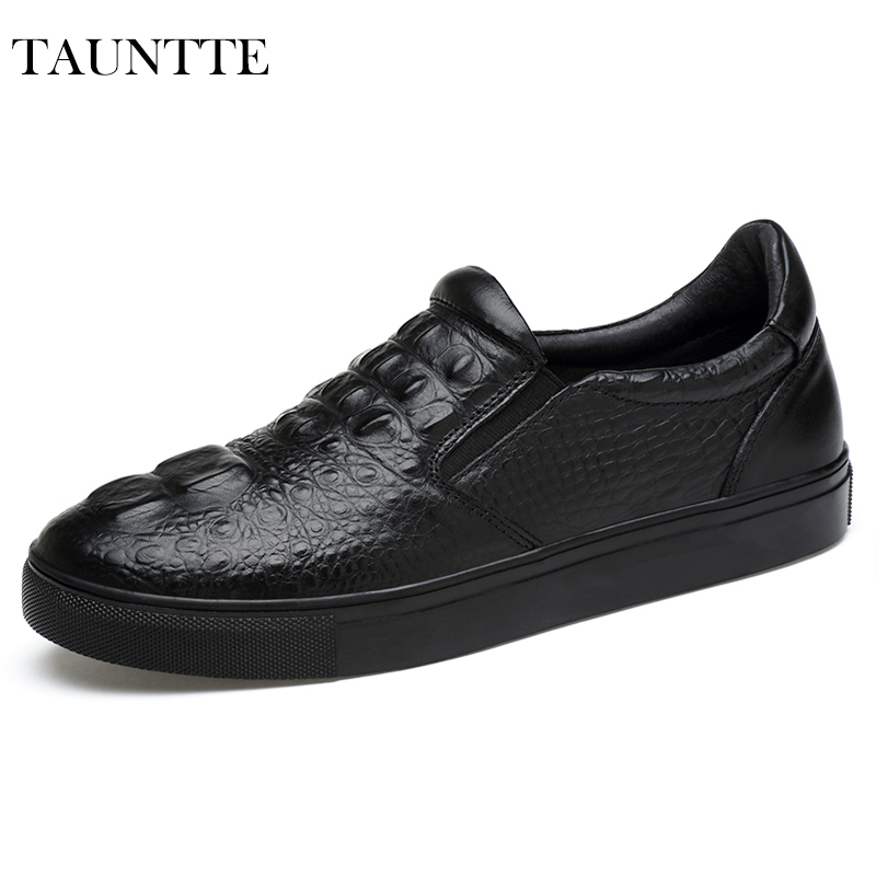 Tauntte 2017 New Fashion Crocodile Pattern Genuine Leather Men Shoes Breathable Anti-Odor Slip On Casual Shoes For Shipping branded men s penny loafes casual men s full grain leather emboss crocodile boat shoes slip on breathable moccasin driving shoes