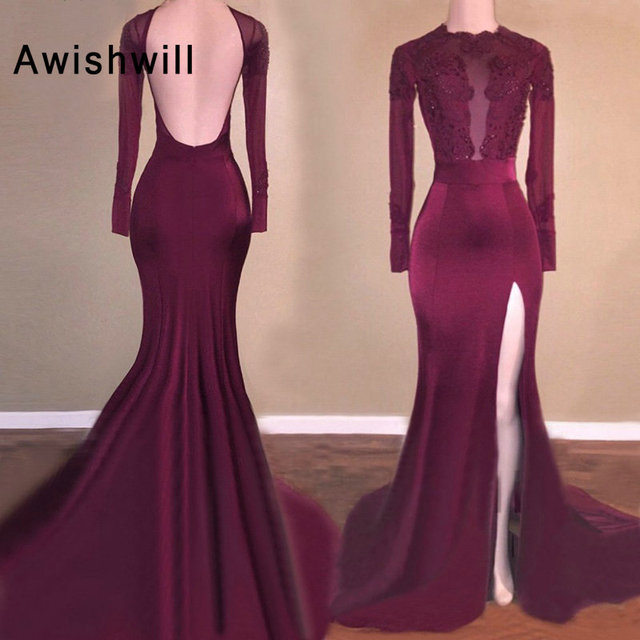 Sexy Long Prom Dresses Burgundy Mermaid Long Sleeve High Slit Open