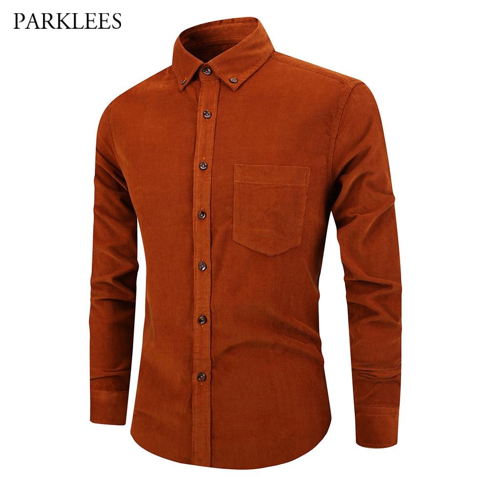 Long Sleeve Corduroy Shirt Men Casual Slim Fit Mens Button Down Dress Shirts 2019 Brown Formal Business Camisas Social Masculina