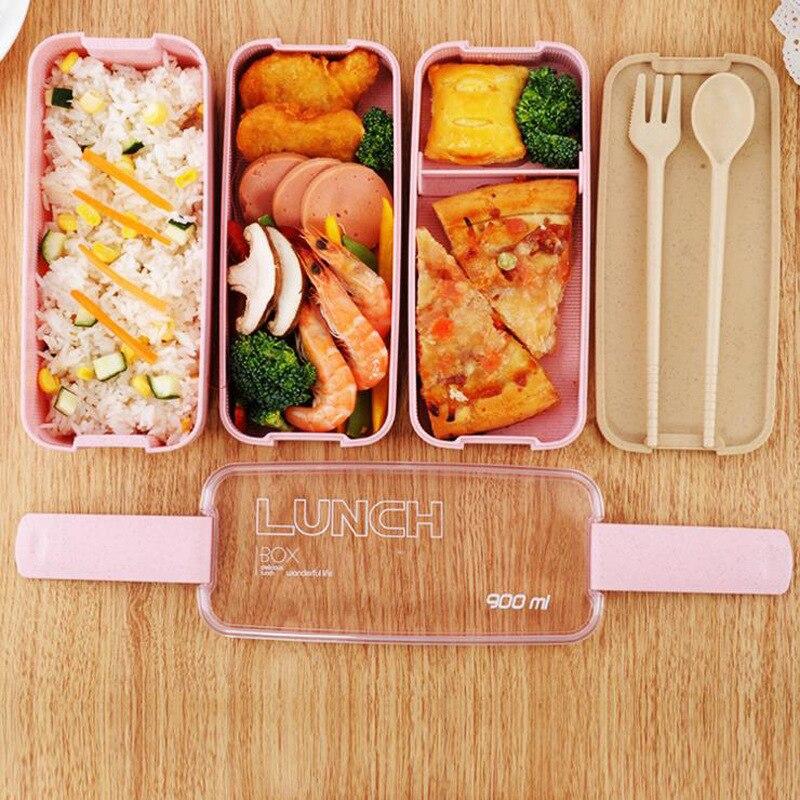 900ml caja de almuerzo de Material saludable 3 capas de paja de trigo Bento cajas de microondas vajilla de almacenamiento de alimentos caja de almuerzo
