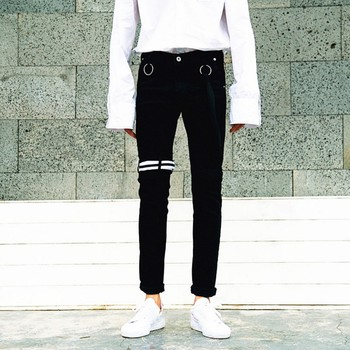 Kpop home New autumn and winter slim  male elastic black strap personality pencil pants unique trousers jeans bts taehyung warriors