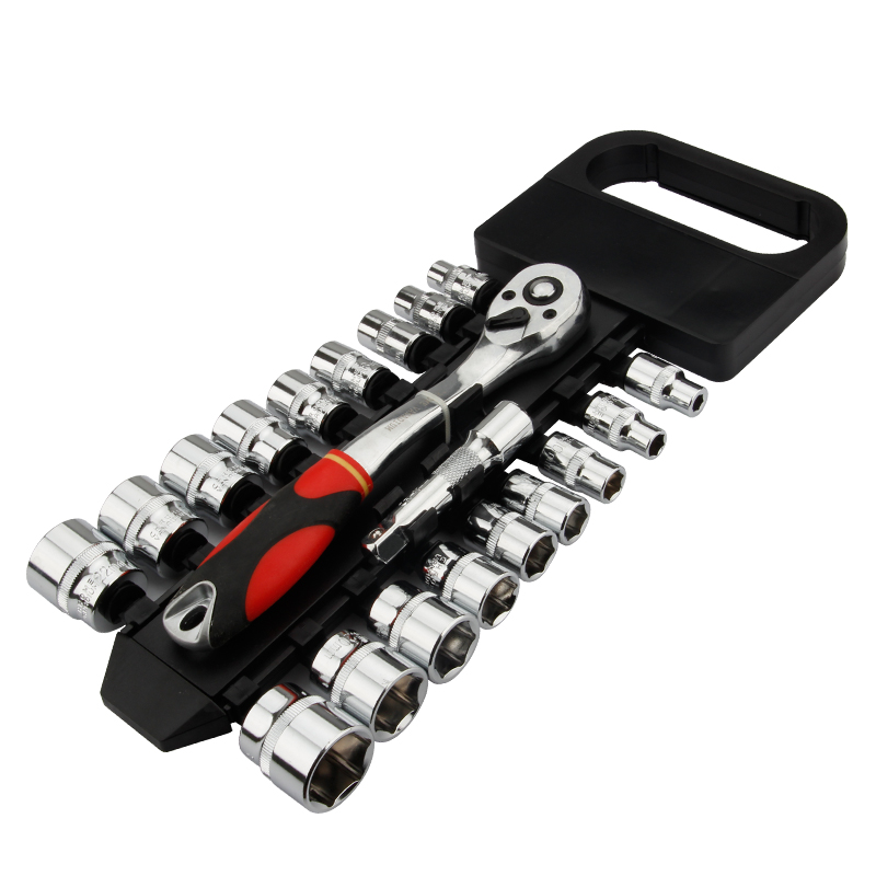 Crv Quick Release Reversible Ratchet Socket Wrench Set Tools With Hanging Rack 1/4