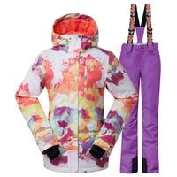 New Winter Ski Suit Female Snowboard Ski Jacket Pants Women 4 Size XS S M L