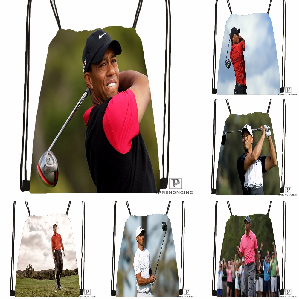 Custom Tiger Woods Drawstring Backpack Bag For Man Woman Cute Daypack Kids Satchel (Black Back) 31x40cm#180531-01-32