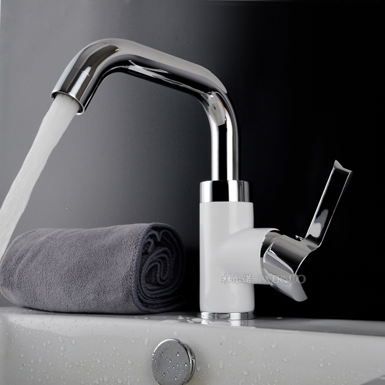 Bathroom Faucet Grilled white paint Chrome Finish Solid Brass Hot and Cold Basin Sink Faucet Mixer Tap Single Handle side