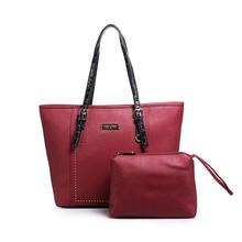 2 Sets bolsas Compuestas Marca Bolsas Para Mujeres de la Alta Calidad de Hombro Bolsas de Mensajero de la Señora Remaches Bolso de Mano bolsa feminina