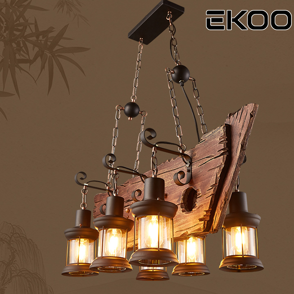 EKOOE27 Chandelier Vintage Industrial Retro Wood Iron Lamp Industrial Rustic Light  6 Lights  for restaurant bar Living RoomEKOOE27 Chandelier Vintage Industrial Retro Wood Iron Lamp Industrial Rustic Light  6 Lights  for restaurant bar Living Room