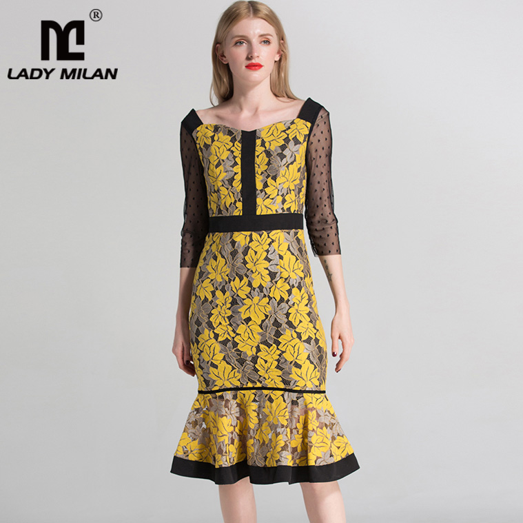 New Arrival 2018 Womens Square Neckline 3/4 Sleeves Embroidery Lace Ruffles Hollow Out Fashion Mermaid Dresses