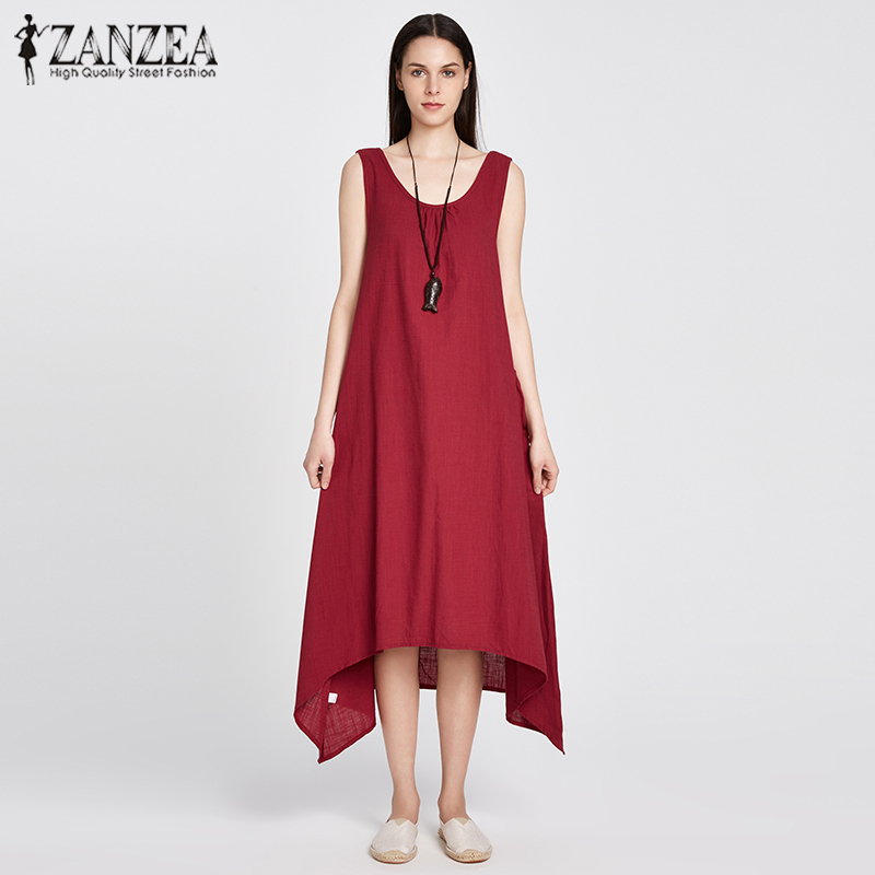 ZANZEA 2018 Summer Boho Women Casual Loose Sleeveless Long Dress Vintage Pockets Irregular Maxi Dresses Plus Size Vestidos