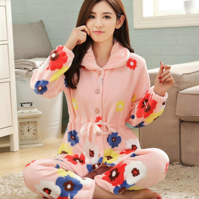 f249a4a735 Plus Size 4XL Pyjamas Women Pajamas Set Winter Thick Warm Flannel Sleepwear  Suit Nightgown Female Cute Pink Pijama Mujer-in Pajama Sets from Underwear  ...