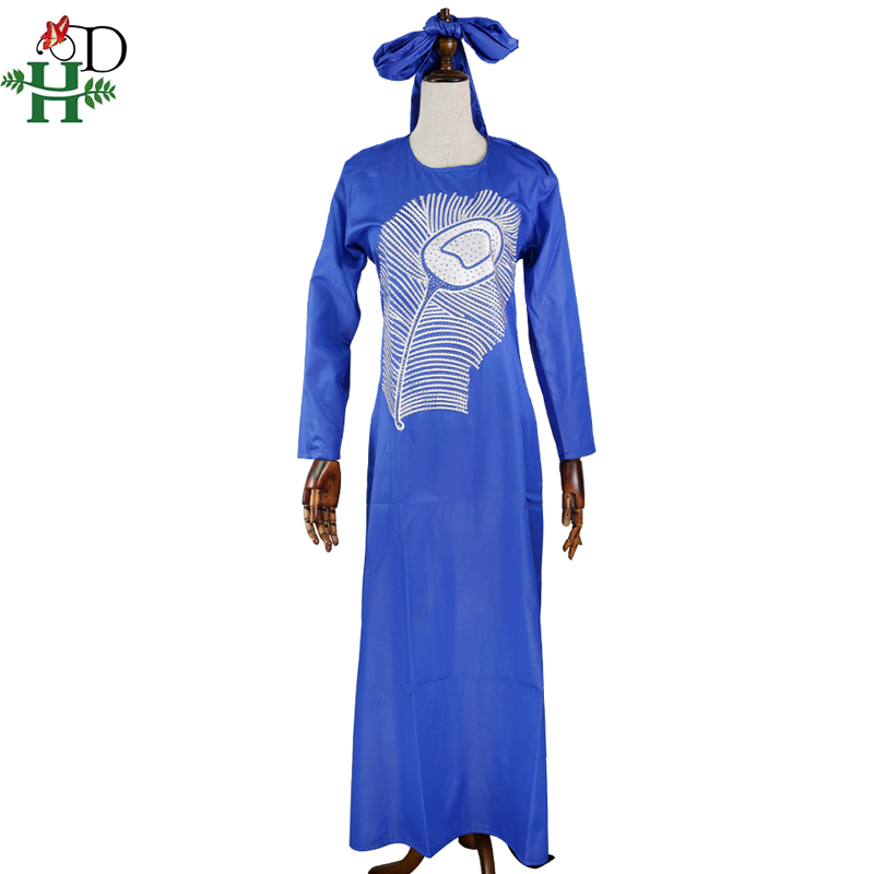 H&D 2019 african dresses for women embroidery pattern dashiki dress with shining stones traditional african womens clothes S3308