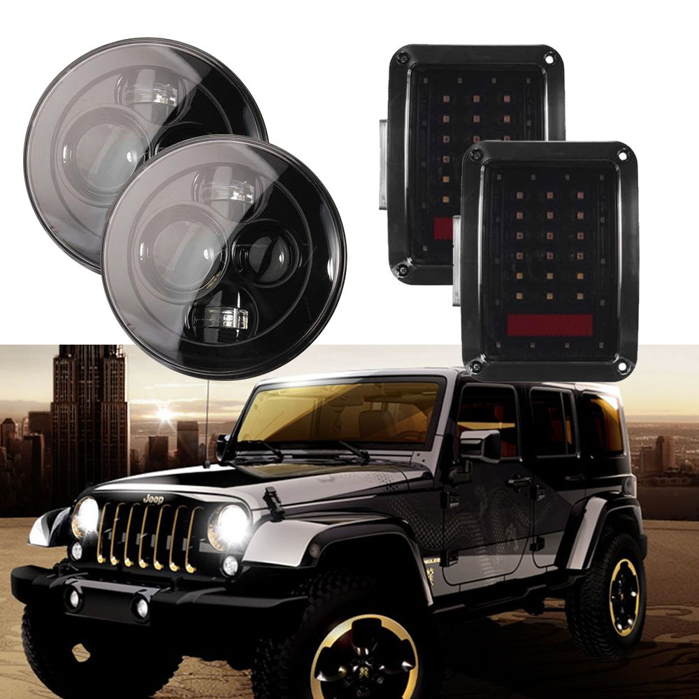Pair Smoked LED Headlight Reverse Tail Lights Brake Rear Lamps + 7 Round Daymaker Headlights For Jeep Wrangler