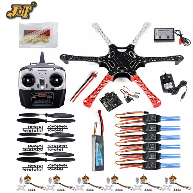 JMT DIY Drone Kit Hex Rotor Hexa Copter RTF W/ F550 Flame Wheel Kit + KK 2.3 Controller + ESC Motor Weld&debug Battery TX RX шуруповерт аккумуляторный makita dfr750rfe 18в 2х3ач li ion 4000об м 1 4 2 3кг кейс