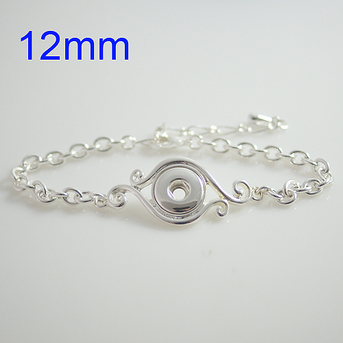 product 10pcs/lot Hot sale high quality 23CM silver button bracelet fit ginger 12mm snap button from www partnerbeads com KB0422-S
