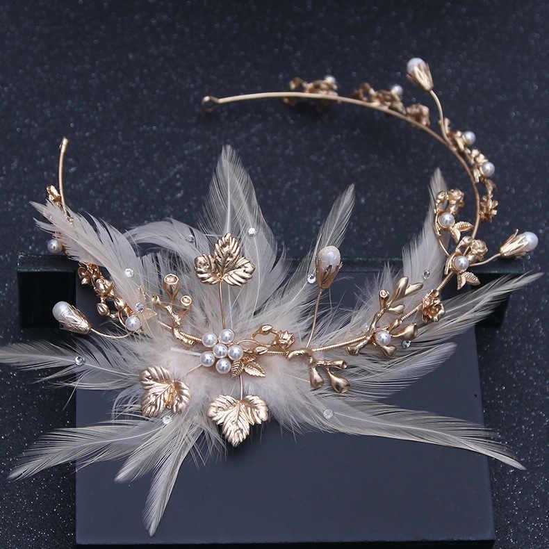 Baroque Vàng Vintage Lông Vũ Ngọc Trai Pha Lê Đầu Ren Hoa Đầu Bộ Cô Dâu Đô Cưới Tóc Phụ Kiện Trang Sức