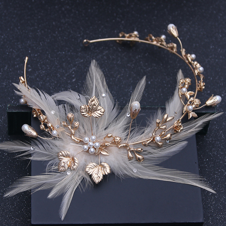 Baroque Vintage Gold Feather Crystal Pearl Headband Rhinestone Flower Head Piece Bride Hairband Wedding Hair Jewelry Accessories