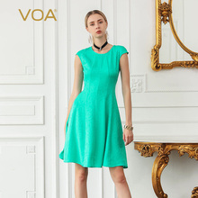 VOA Silk Jacquard Slim Midi Dresses Women Sweet Lake Green Summer Dress Casual Large Size Ladies Simple vestido Clothes A8126