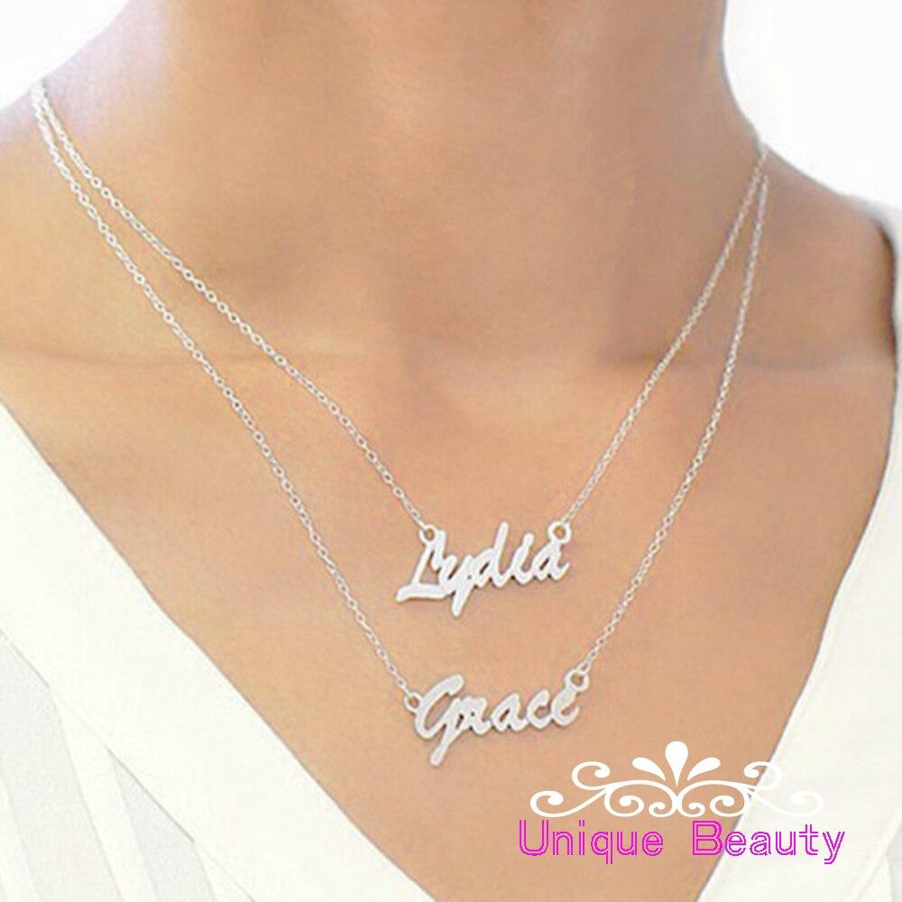2 plaques signalétiques collier personnalisé Double nom pendentif personnalisé mode bijoux deux couches femmes collier collier de nombre
