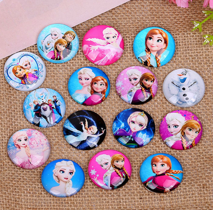30X 10mm  Cartoon Beauty Pattern Round Handmade Photo Glass Cabochons & Glass Dome Cover Pendant Cameo Settings