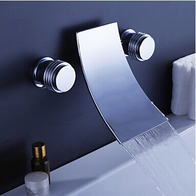 Double Handles Wall Mounted solid brass Basin Vessel Sink Faucet Square Plate Spout Waterfall Bath Tub waterfall Faucet free shipping gold clour wall mounted vessel sink faucet basin waterfall faucet