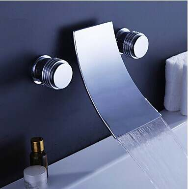 Online Shop Double Handles Wall Mounted Solid Brass Basin Vessel