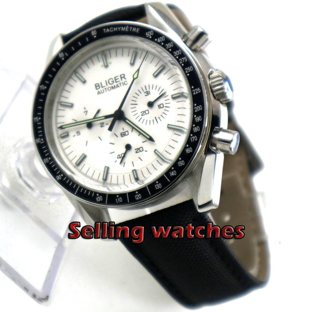 Luxury 40mm Bliger Multifunction men's watch white dial Arched glass date week Automatic movement wrist watch men