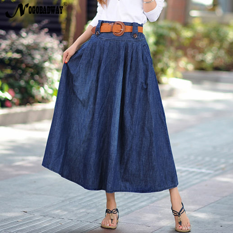 f0a1b3d67e4 S 6XL Plus size denim long skirts womens vintage casual jeans maxi skirt  summer style 2018 high waist women saia pleated bottom -in Skirts from  Women s ...