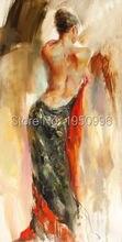 ФОТО Modern Art Skilled Artist Handmade    Beauty Walking Wearing  Red Skirt Oil Paintings Lady  Painting  Canvas Wall Art
