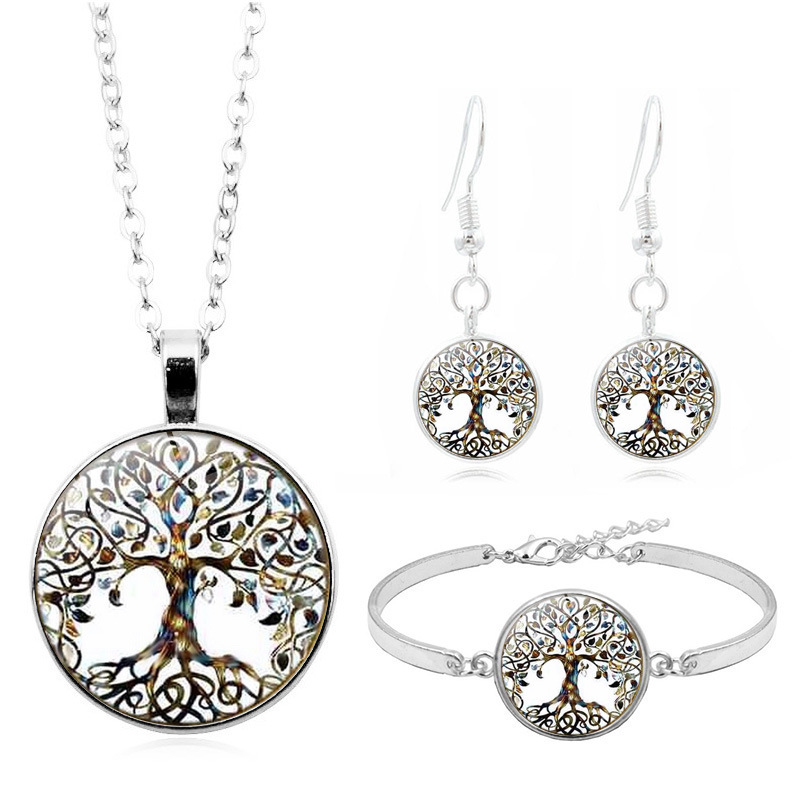 New-Accessories Earrings Necklace-Set Women's-Set Silver Bracelet Life-Tree Glass Time