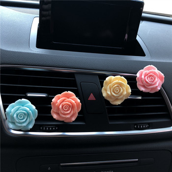 Delicate colorful roses Car perfume clip decoration Rose modelling Lady car air freshener Lovely flower ornaments image