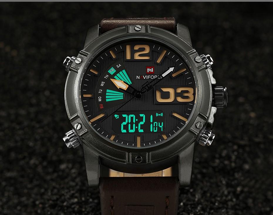 2018 NAVIFORCE Hommes de Mode Sport Montres Hommes Quartz Analogique Date Horloge Homme En Cuir Militaire Montre Étanche Relogio Masculino 10