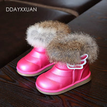 New Children's Real Rabbit Fur Ankle Snow Boots Fashion Kids Shoes Girls Boots Warm Plush Waterproof Winter Baby Shoes EU21-30