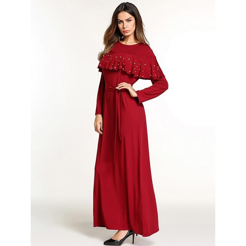 Jupettes Robe Long Longues As Printemps Perle Rouge Ruches De Pictures O Femme Robes cou Fiesta Femmes Lâche Automne 2018 Manches ESTwqX