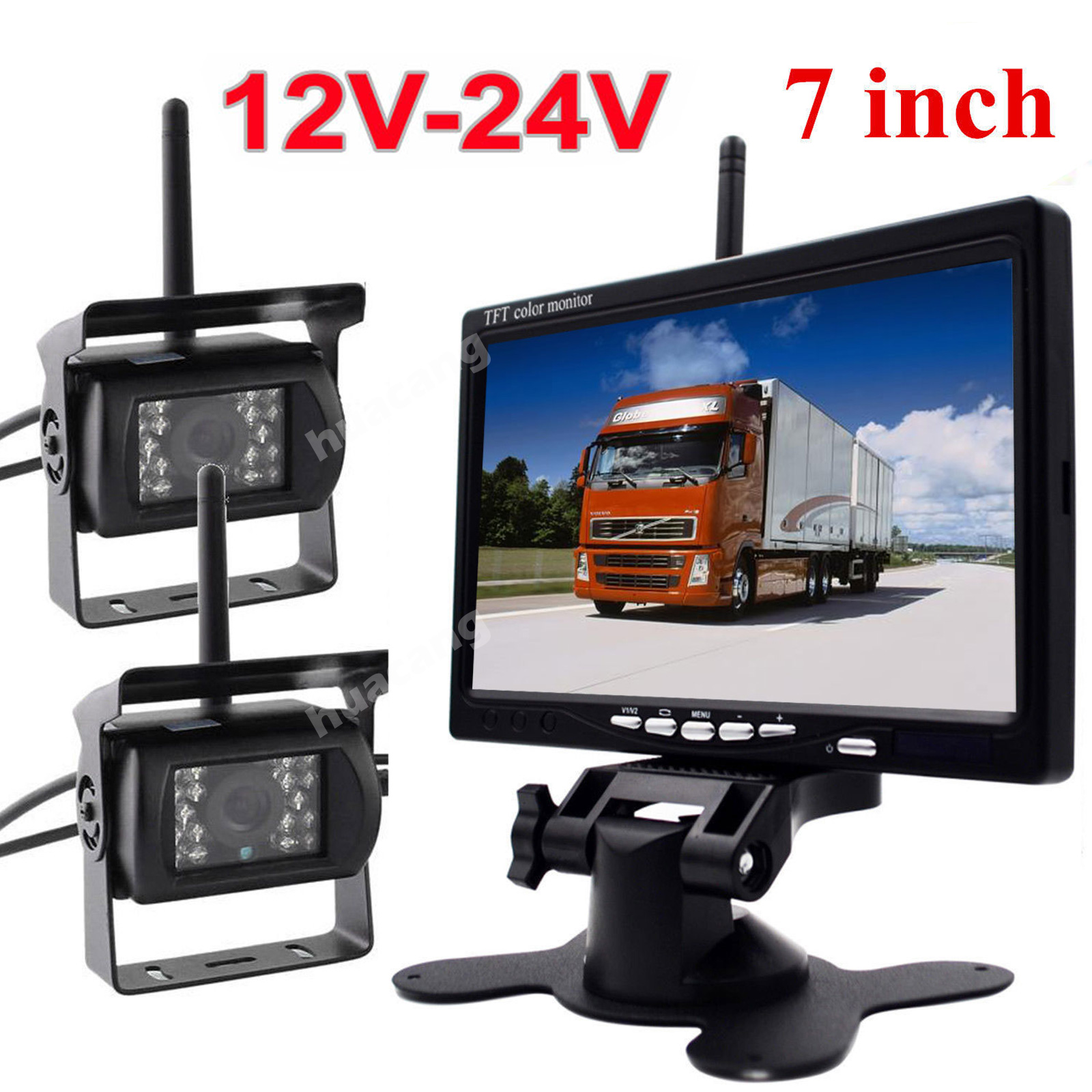 "2x 12V 24V Wireless Waterproof Night Vision Reversing Backup Camera + 7"" TFT LCD Rear View Monitor for Bus Truck RV