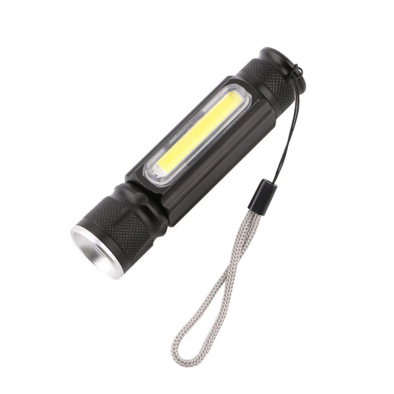 2018 New T6 Flashlight COB Telescopic Focusing USB Charging Waterproof Lighting Strong Fix Strong Light COB T6 Strong / Weak