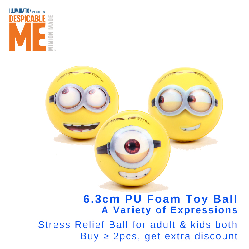 Minion 6.3cm Soft Touch PU Foam Ball Hand Wrist Exercise Toy Balls Face Print Sponge Foam Ball Squeeze Stress Ball Relief Toy