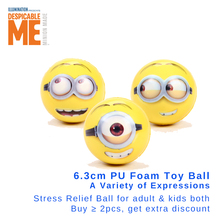 Minion 6.3cm soft touch PU foam ball Hand Wrist Exercise Toy Balls Face Print Sponge Foam Ball Squeeze Stress Relief