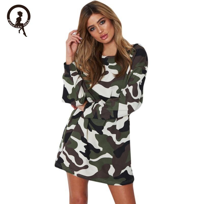 Women Camouflage Autumn Dress Long Sleeve Winter 2017 Army Green Khaki Mini Short Casual Military Soft Base Dresses EY11