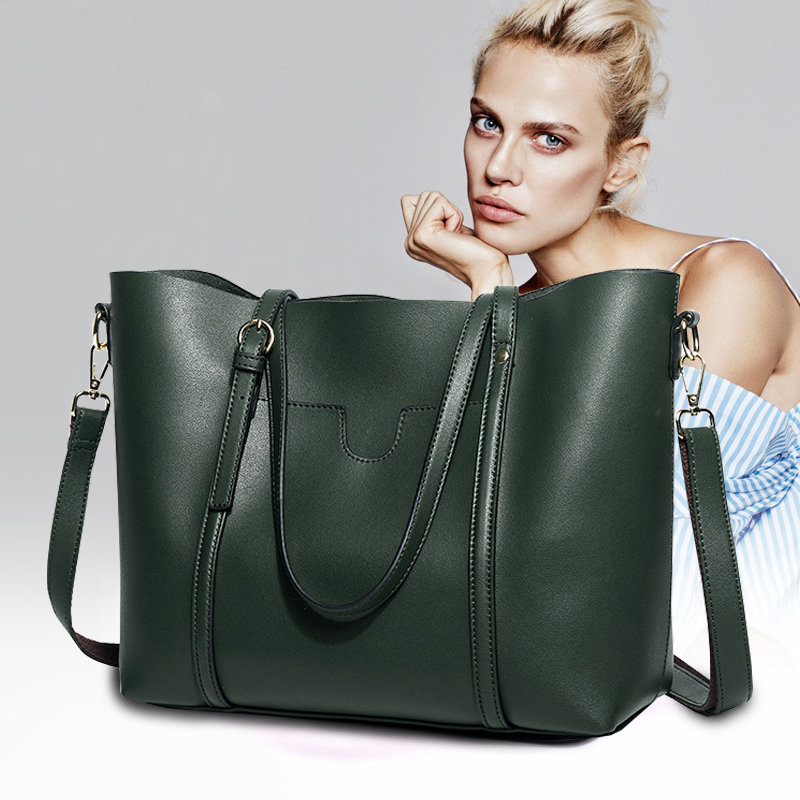 Leather shoulder big bag female 2019 new large capacity tote portable Messenger  ladies leather