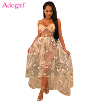 Adogirl Floral Embroidery 3 Layered Mesh Women Party Dresses Sweetheart Spaghetti Straps High Low Maxi Princess Summer Dress