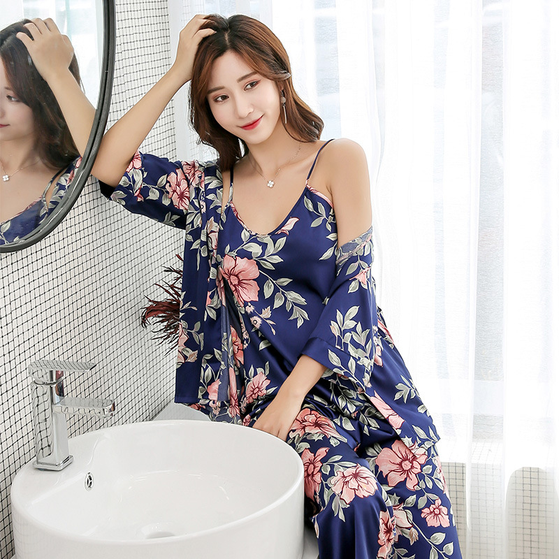 3 Pieces Home Suit 2019 Summer Flower Print Pijama Women's Pajamas Satin Sleepwear Pyjama Femme Sexy Sleep & Lounge With Pants